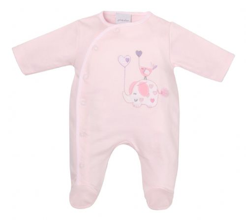 Elephant & Bird Embroidered Sleepsuit - Pink